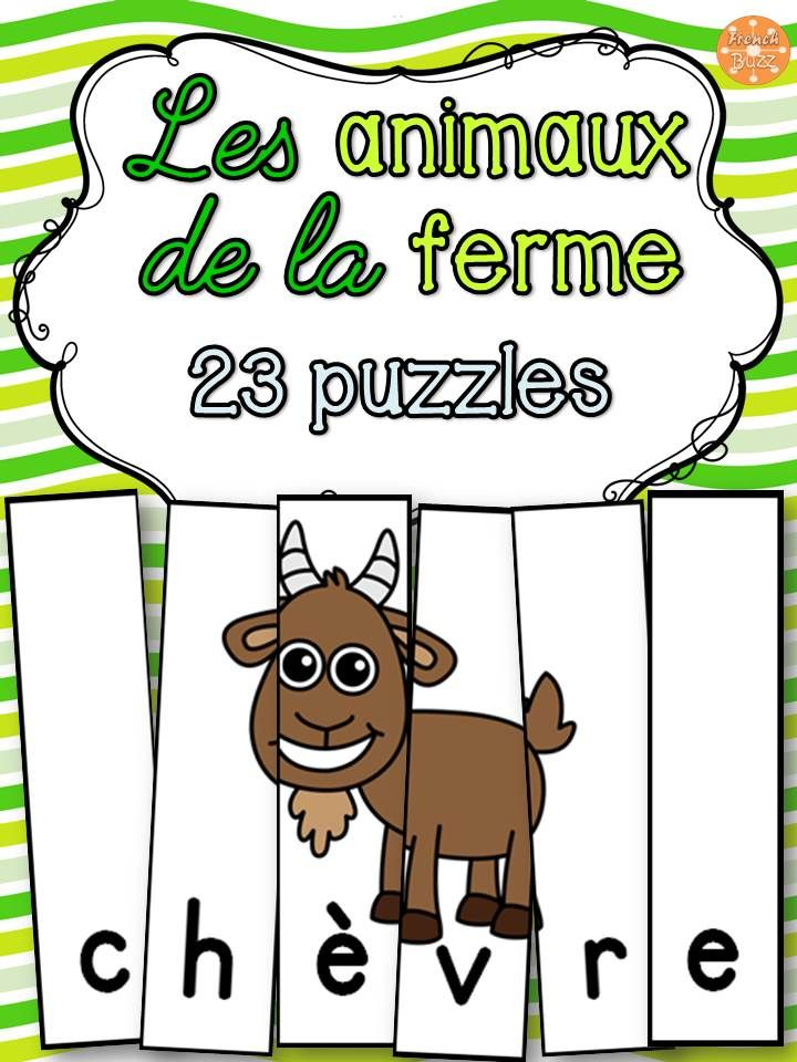 23 casses-tête amusants sur le thème des animaux de la ferme.