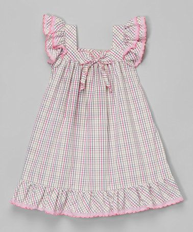 Another great find on #zulily! Lavender Gingham Angel-Sleeve Dress - Infant & Toddler by Les Petits Soleils by Fantaisie Kids #zulilyfinds