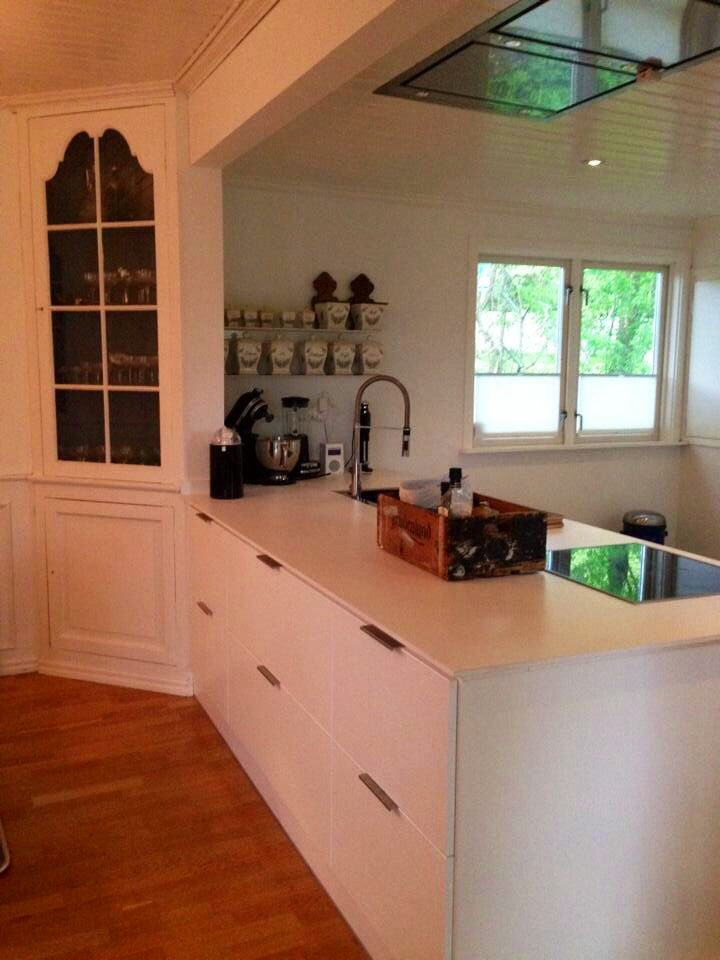 Our new kitchen. We kept the old built-in cupboard in the corner.