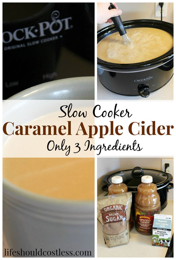 3 Ingredient Slow Cooker Caramel Apple Cider. It's so simple a child could make it, but so tasty that everyone will be begging you for the recipe. |LIFE SHOULD COST LESS