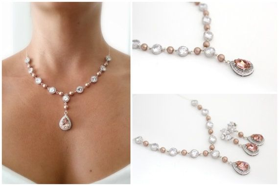 Blush Wedding Bridal Necklace By Estylo Jewelry