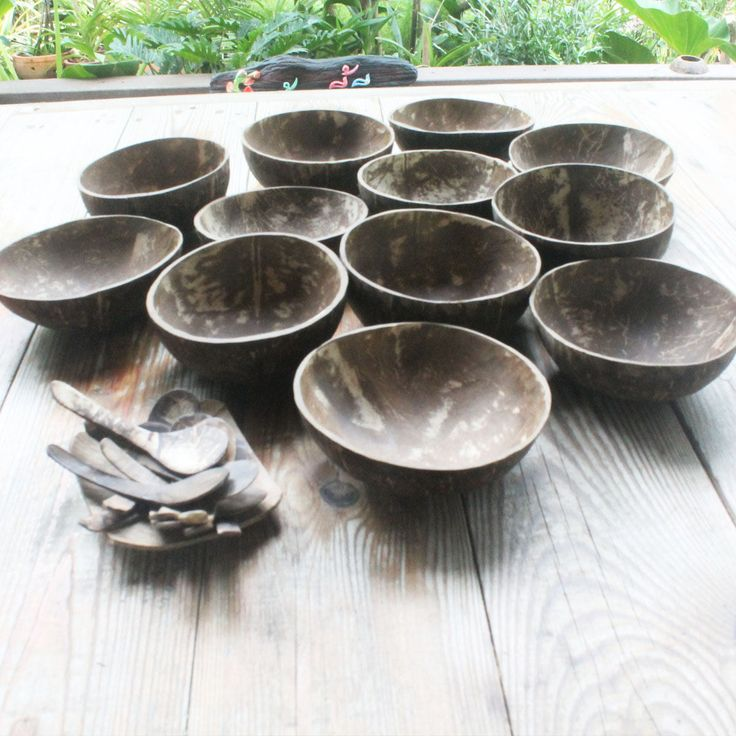 Wholesale set coconut bowl with  flat spoon ,price include shipping. by TheThailand on Etsy