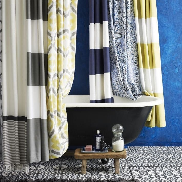 DIY Project Idea: Turn West Elm's Striped Shower Curtain into Window Drapes