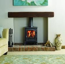 wood burning stoves in brick fireplace - Google Search