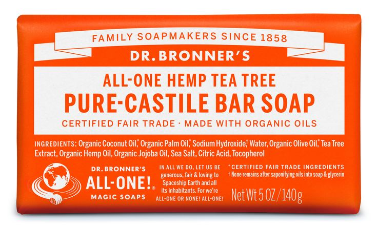 Dr. Bronner's Tea Tree Pure-Castile Bar Soap: Woodsy and medicinal, our Tea Tree soap contains pure tea tree oil & good for acne-prone skin and dandruff!