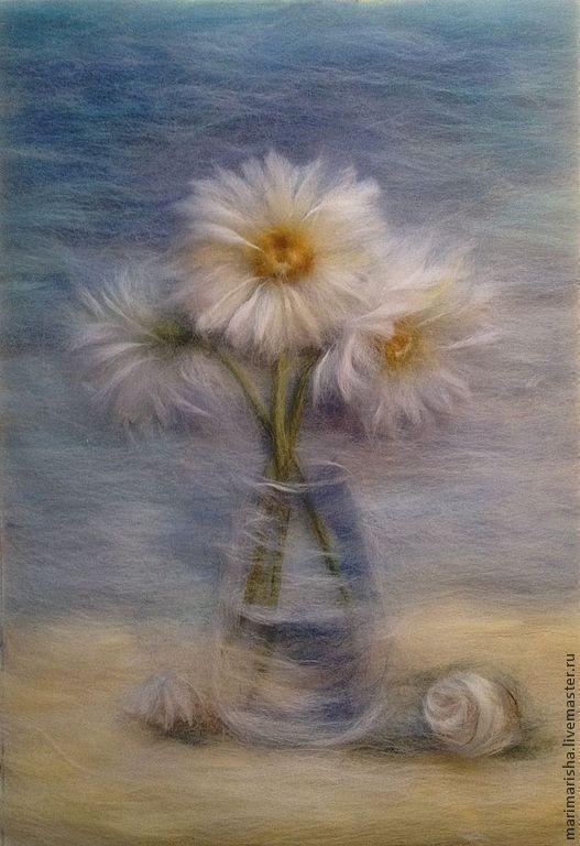 Купить Картина из шерсти Воспоминания о море - голубой, песок, море, картина из шерсти, шерстяные картины