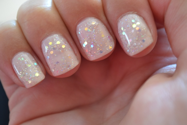 CND Shellac Strawberry smoothie and Romantique and some glitter sparkle and 2 layers of shellac topcoat