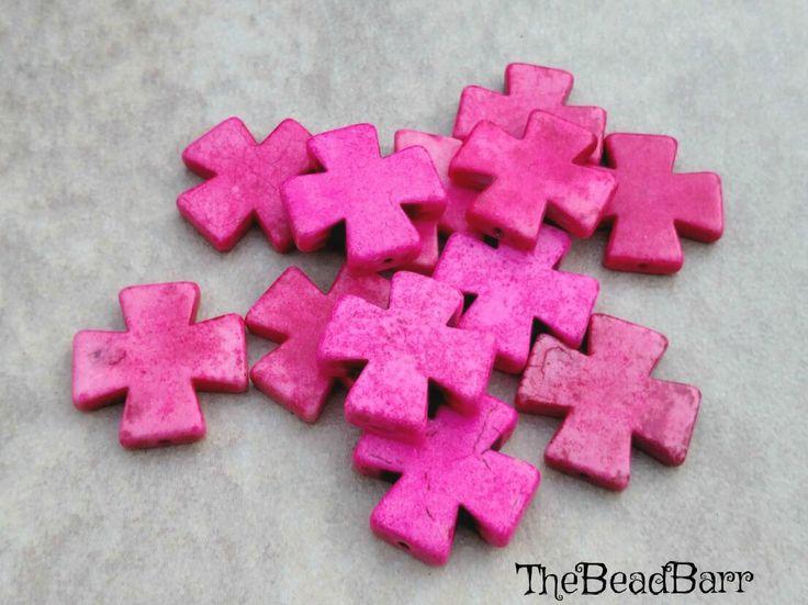 Natural Howlite Cross lot, Gemstone Cross Pendant lot, Cross Bead lot, 12pcs, 25mm, Pink Howlite beads, Pink Pendants, Jewelry Making supply by TheBeadBarr on Etsy