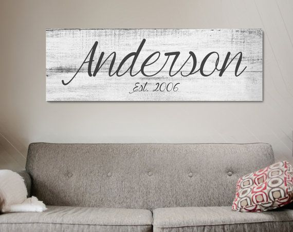 last name canvas wall art