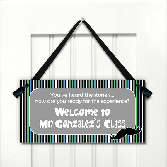 personalized male teacher name classroom door sign  by kasefazem, $15.99
