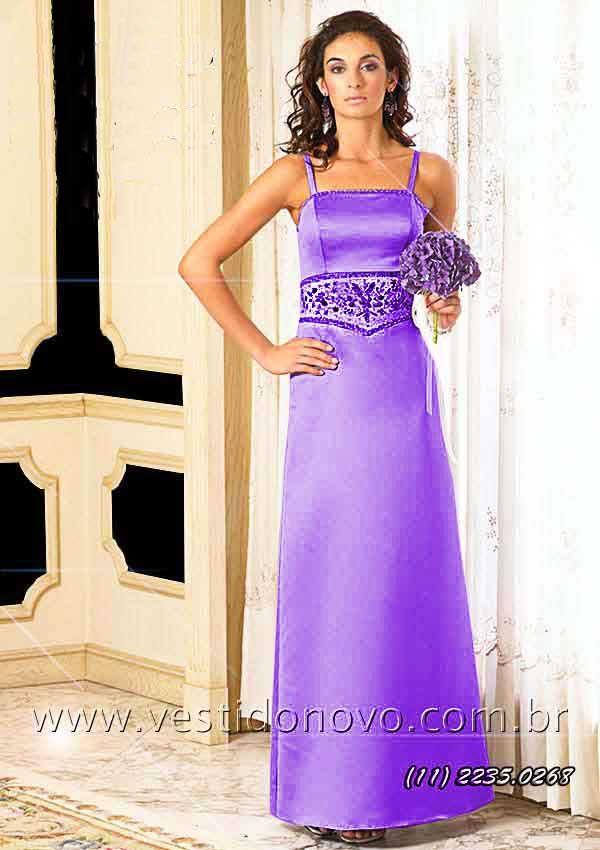 67714ebce7d37 Vestido em cetim importado na cor roxa da LOJA VESTIDO NOVO