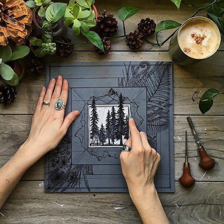 Impressive #linocut #printmaking by @riseandwander #printspotters #printisntdead