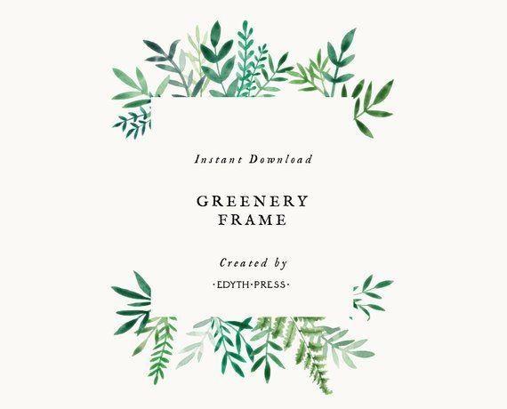 Green Clipart Border 300dpi Greenery Botanical Leaf Frame Including Landscape And Portrait Options Hand Painted Leaf Illustration Frame Clipart Framed Leaves