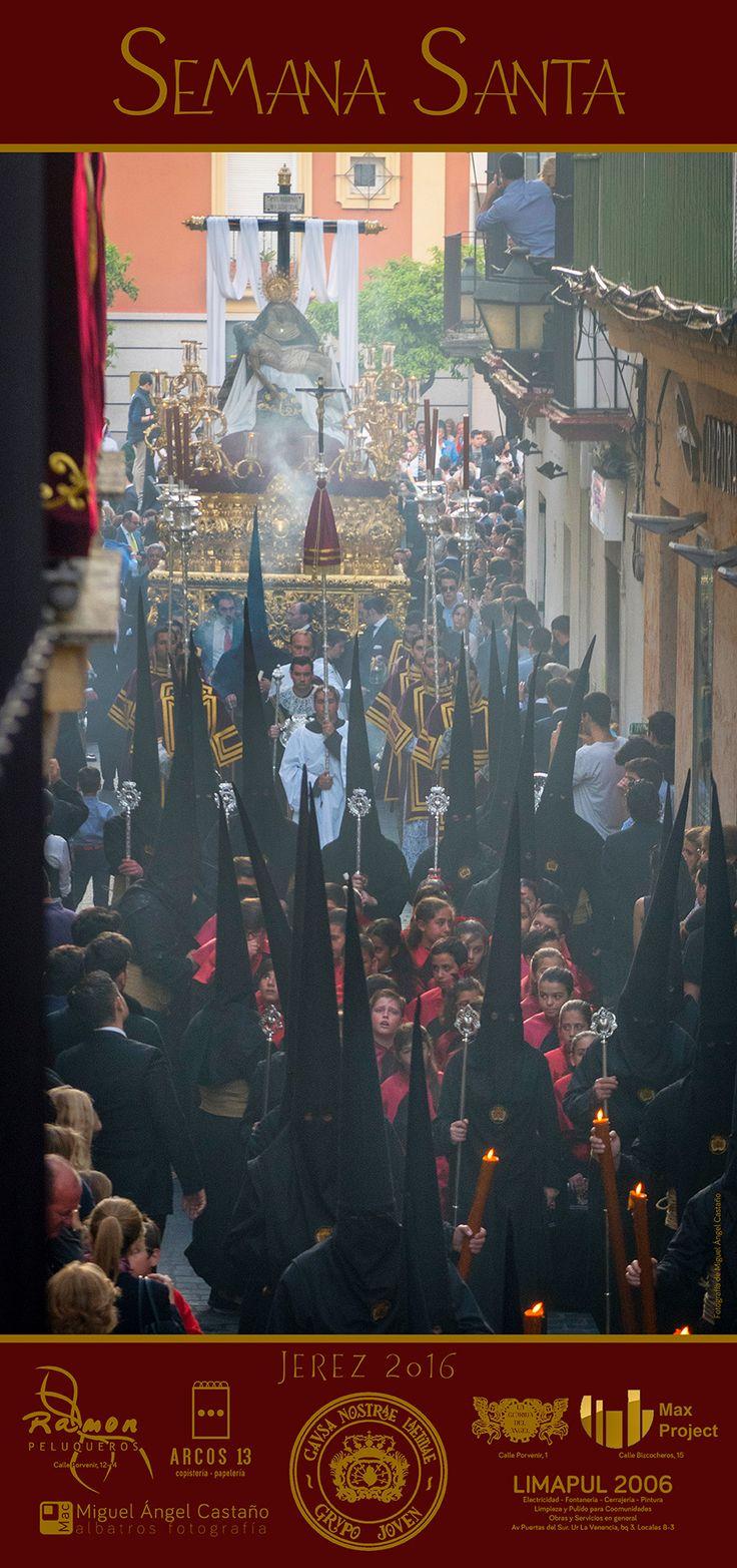 Cartel de la Semana Santa de Jerez del Grupo Joven de la Hermandad de las Angustias 2016 del que es autor Miguel Ángel Castaño
