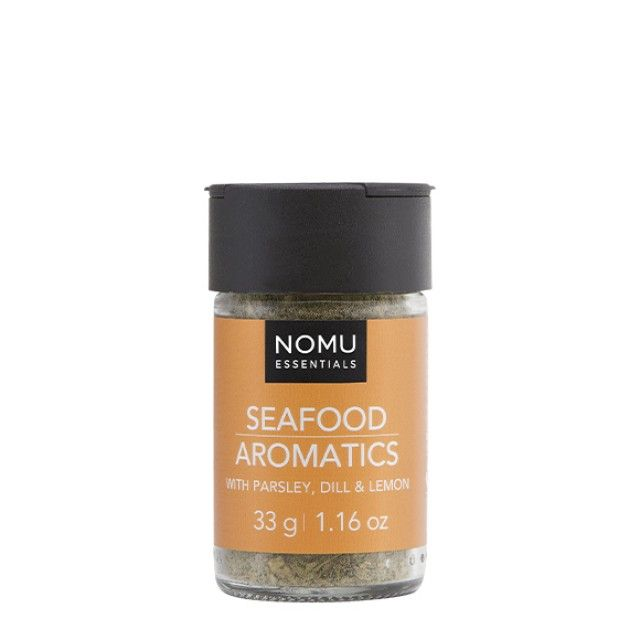 NOMU Spice Blends - Seafood Aromatics: A delicious blend of herbs and spices to add delicate complexity to seafood dishes. Mix with flour and use to coat fresh fillets of fish before frying in butter.