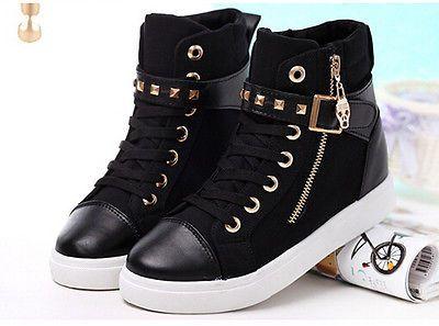 Hot Women Casual Sneakers Rivets Buckle Zipper Walking Sport Canvas Shoes