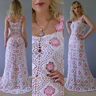 Vintage 70's Crochet Sheer Lace Scalloped TRAIN Flapper Wedding Maxi DRESS Gown