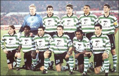 Sporting: 18 anos de espera. Equipa campeã Epoca 1999-2000. Schmeichel, Andre Cruz, Beto, Vidigal e Pedro Barbosa. De Franceschi, Mbo Mpenza, Beto Acosta, Rui Jorge, Cesar Prates e Delfim.