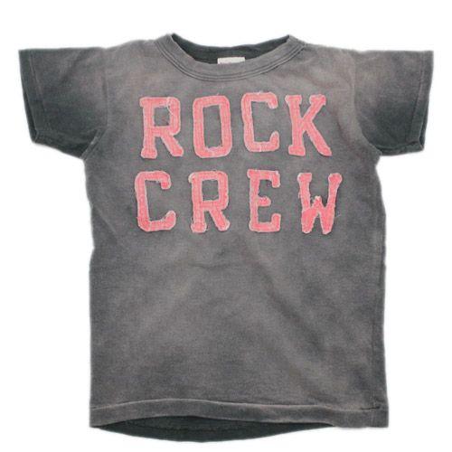 DENIM DUNGAREE(デニム&ダンガリー):ビンテージ天竺 ROCK CREW Tシャツ 2BK黒 の通販【ブランド子供服のミリバール】