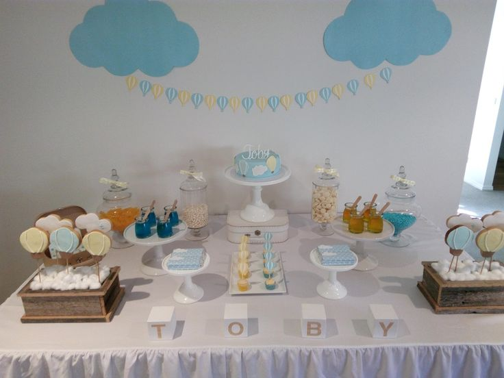 Utterly Organised Blog: Hot Air Balloon themed baptism dessert table