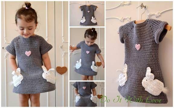 Häkelanleitung Kleid Verliebte Hasen - Häkelanleitungen bei makerist sofort runterladen