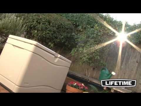 Lifetime 80-Gallon Outdoor Storage Box http://www.greenhousestores.co.uk/Lifetime-Plastic-Sheds/