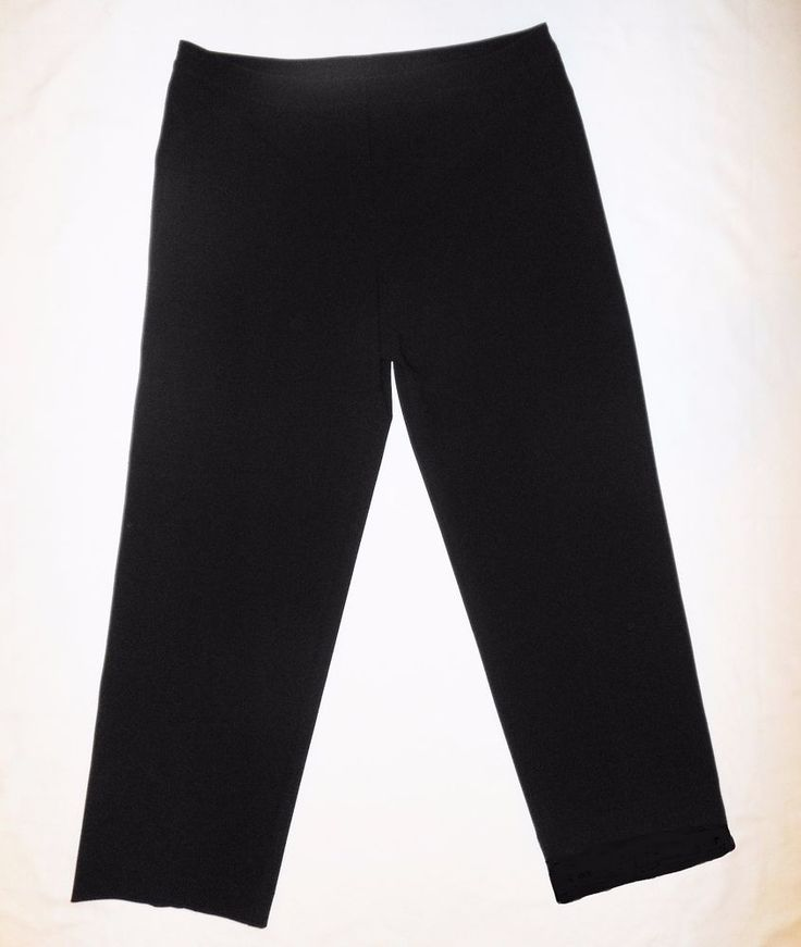 St John Caviar 18 Black Pants Wide Leg Stretch Trousers Wool Blend Flat Front #StJohn #DressPants #Size18 #StJohnCaviar #StJohn18