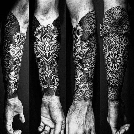 50 dessins de tatouage géométrique de l'avant-bras pour hommes – Manly Ideas #designs #ge …   – Geometrische Tattoos