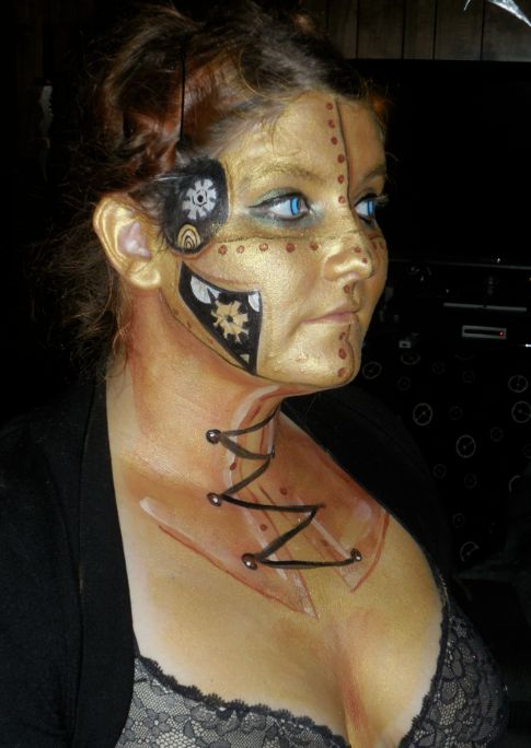 face paint by joelene cats meow steampunk robot my
