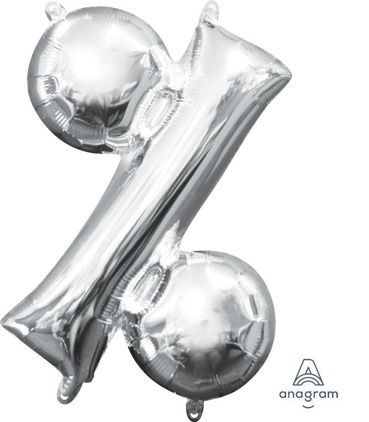 """16"""" Symbol Percent Sign Silver-Pkg"""