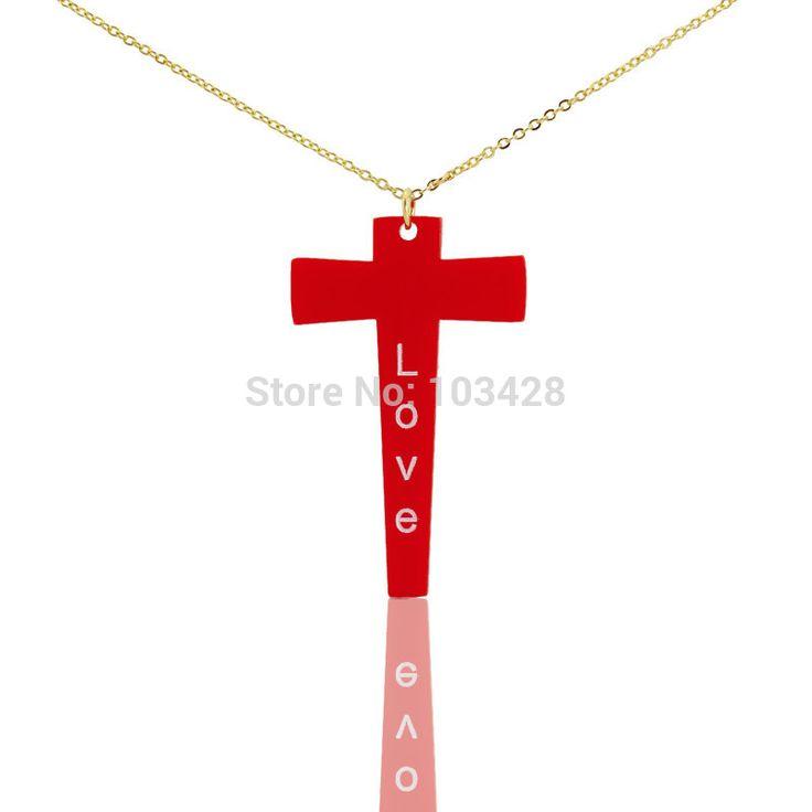 Красный Крест Ожерелье Красный Ожерелье Красный Ювелирные Изделия Персонализированные Крест Ожерелье Невесты подарки день матери подарки Христианские Подарки