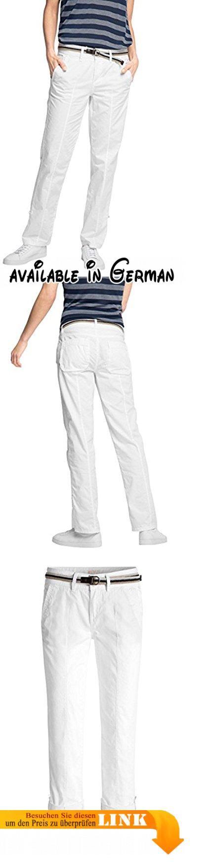 ESPRIT Damen Hose 046EE1B025-mit Gürtel, Weiß (White 100), 36/L30 (Herstellergröße: 36). Variable Turn-Up-Hose aus luftiger Baumwolle mit Gürtel. Hosenbeine lassen sich krempeln und per Knopf und Riegel befestigen - für die Capri-Länge. Relaxed #Apparel #PANTS