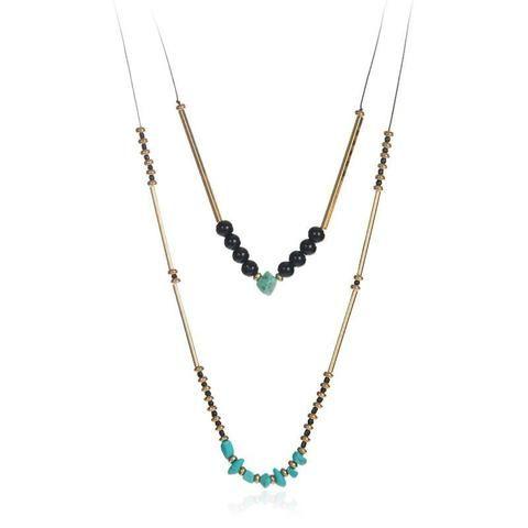 Yolanda Double Strand Necklace With Black Beads