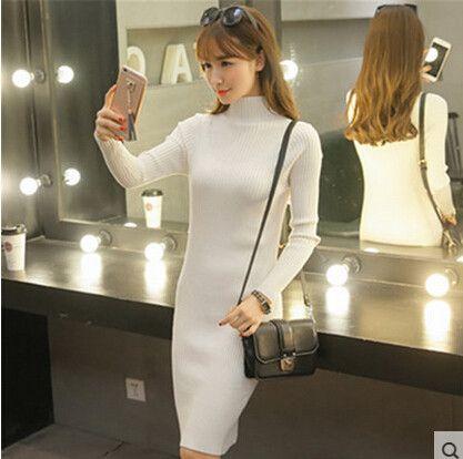 Spring Autumn Winter Women Dress Slim S-Line Medium Style Knitted Dress Basic Solid Half Turtleneck Long Sweater Dress