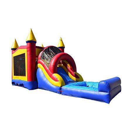 JumpOrange Commercial Grade 13' x 30' Rainbow Mega Wet/Dry Inflatable Bouncy House and Slide Combo, Red/Yellow/Blue