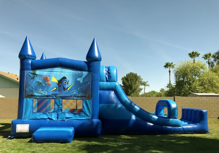 Awesome blue finding dory - finding nemo combo bounce house slide with bumper. Can be used dry or with water! East Valley Bounce - Bounce House Rentals, Waterslide Rentals. Mesa, Arizona