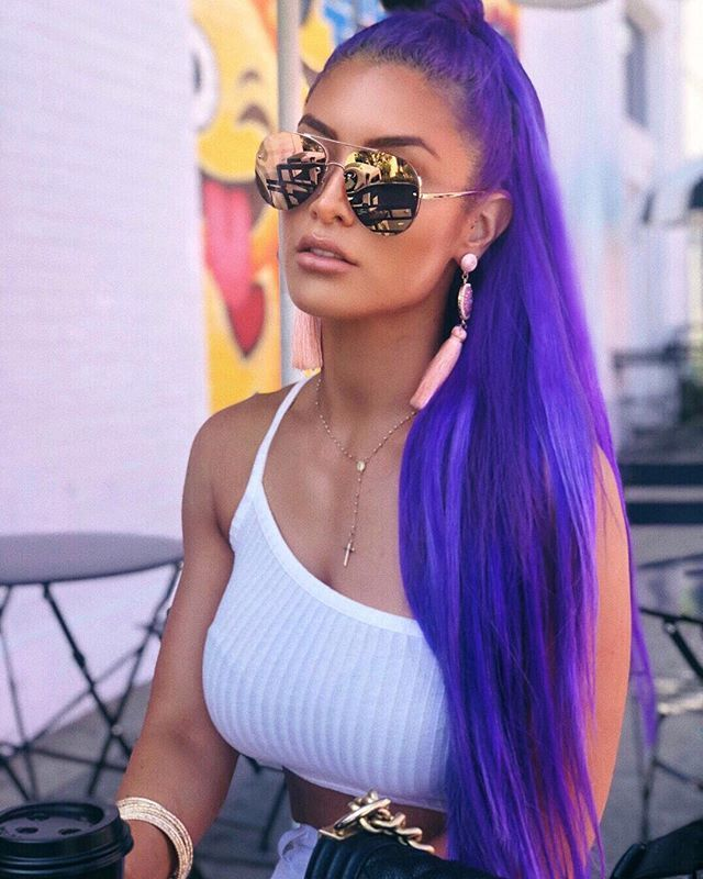 Natlieevamarie Purple Hair Looks Natalie Eva Marie Eva Marie Hottest Female Celebrities