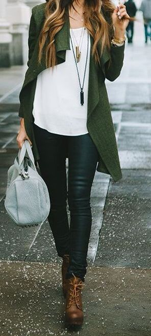 long green jacket, jeans, ankle boots and white shirt.. always casual!
