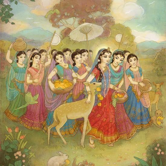 Sri Radha with the gopis by Nilambhari.