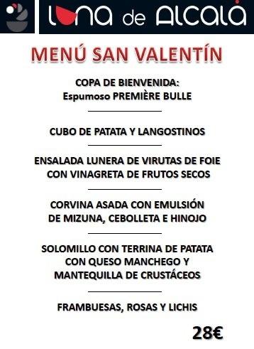 Menú especial de San Valentín