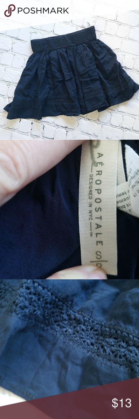"Aeropostale Navy Blue Flirty Fun Skirt Sz Small Navy Blue flirty flouncy skirt Aeropostale brand Juniors Size Small Great condition No lining Super short mini Rayon & cotton  Measurements laying flat  Waist 12"" elastic waist Length 14.5"" Aeropostale Skirts Mini"