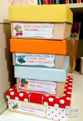 Etichette scaricabili per scatole giocattoli