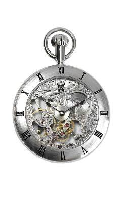 Montre gousset pour homme. Plaquage argenté. Dimensions : 51 X 12 mm. Mouvement mécanique apparent haute qualité. A savoir : Cette montre livrée avec sa chaîne fonctionne sans pile, l'élégant mouvement mécanique doit être remonté manuellement toutes les 24 à 48h.