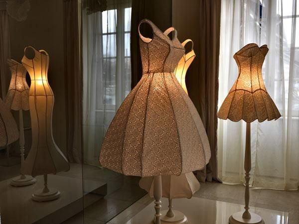 Dresses made into lampshades!