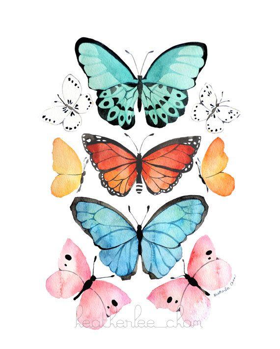 Acuarela  arte  impresión de la pintura de la mariposa