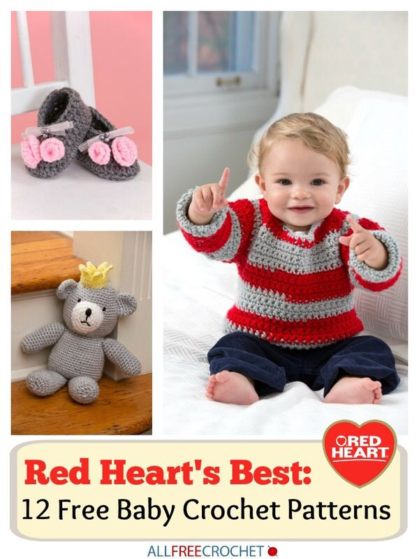 I just read an amazing article called: Red Heart's Best: 12 Free Baby Crochet Patterns!. You can read the article here: http://www.allfreecrochet.com/Free-Baby-Crochet-Patterns/Red-Hearts-Best-Free-Baby-Crochet-Patterns-Free-eBook