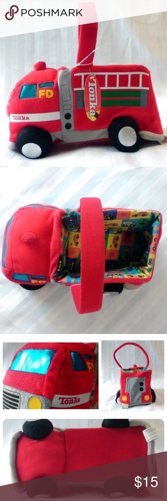 🚒NWT Tonka Fire Truck Plush Basket Tote Hasbro Tonka Fire Truck Plush Basket Tote for toys or accessories! The approximate length and width of plush basket is 12in. x 7in. Without the measurements of carrying handle. And inside basket measurements are 7in x 4.5in x 3in NEW WITH TAGS ***Hasbro*** Year 2008 All our listings come from a smoke free home. Hasbro Accessories Bags