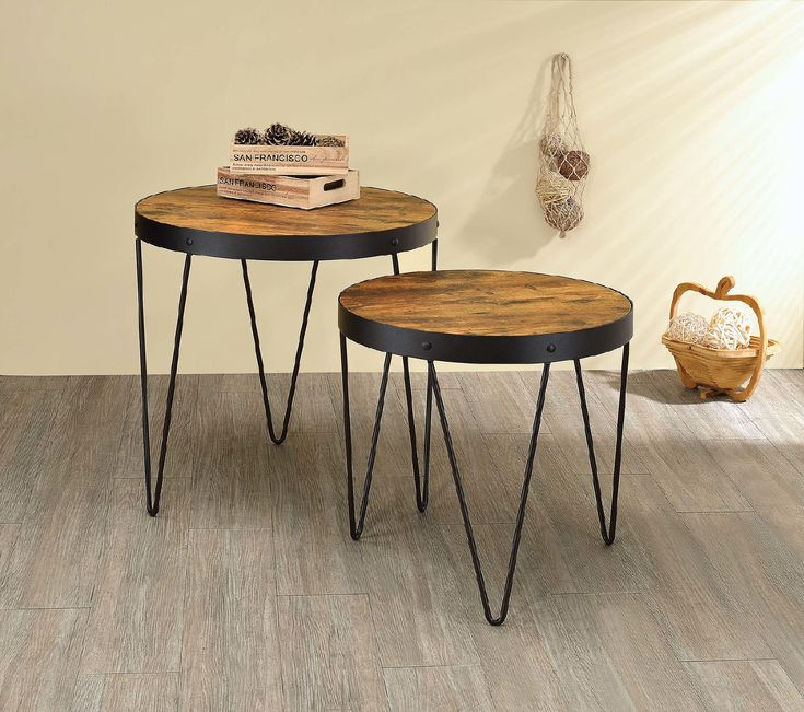 Coaster CS944 Industrial Honey And Black Nesting Tables  – Products