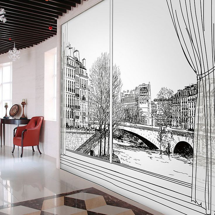 17 best images about architectural wall murals on for Black and white paris wall mural