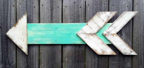 Hand Painted Distressed Reclaimed Wooden Beach Arrow
